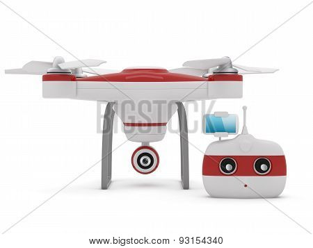 Quadrocopter Drone With The Camera And Radio Remote Controller With Smartphone Preview.