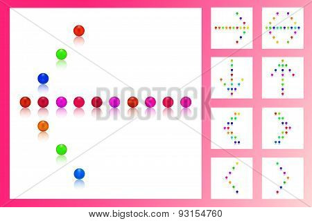Set 9 Arrows Of Colorful Pearls, Candies, Sweets, Sugar, Bonbon