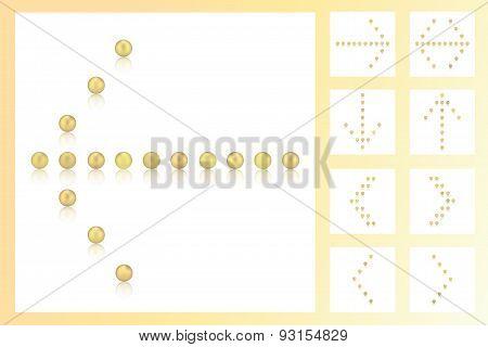 Set 9 Arrows Of Gold Pearls, Candies, Sweets, Sugar, Bonbon