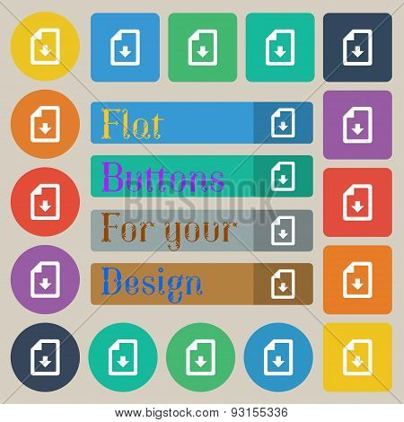 Import, Download File  Icon Sign. Set Of Twenty Colored Flat, Round, Square And Rectangular Buttons.