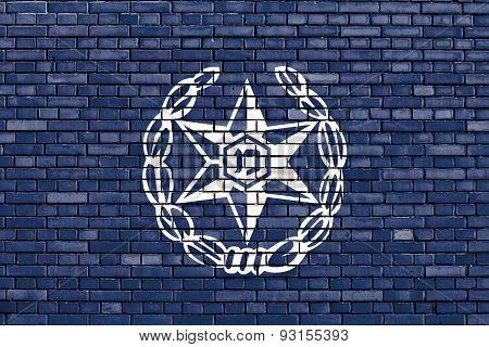 Flag Of Israel Police Painted On Brick Wall