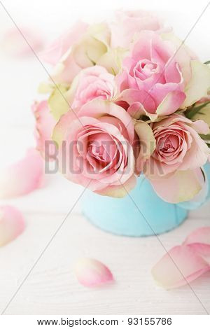 flowers in a vase. shabby chic colors