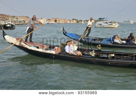 Venetian Gondolas At The Grand Canal