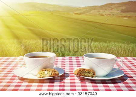 Coffee and cantuccini on the chequered cloth against Tuscan landscape. Italy