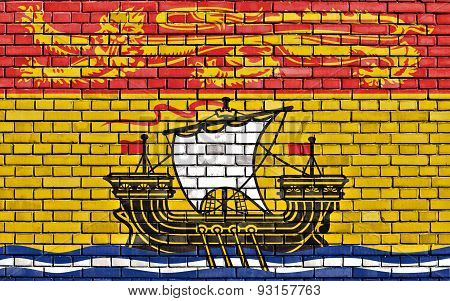 Flag Of New Brunswick Painted On Brick Wall