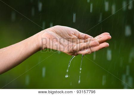 Hand Catching Rain Drops