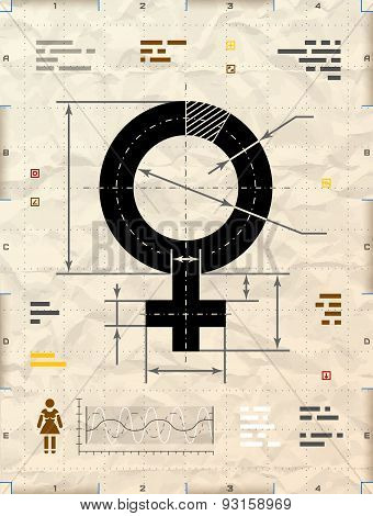 Female Symbol As Technical Blueprint Drawing