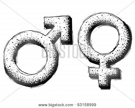 Hand Drawn Gender Symbols With Dot Shading