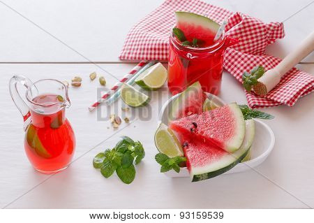 Fresh watermelon with juice and pistachio.