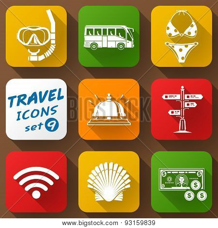Flat Icons Set Of Travel Elements