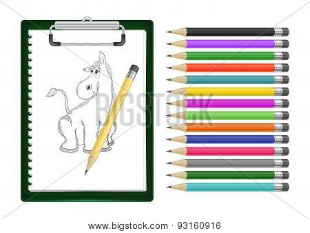 Clipboard With Donkey Sketch And Pencils