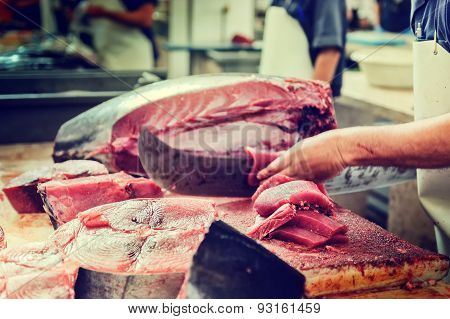 Cutting Tuna Steaks At Fish Market Mercado Dos Lavradores, Funchal