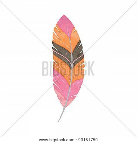Vector Set of Watercolor Style Feathers