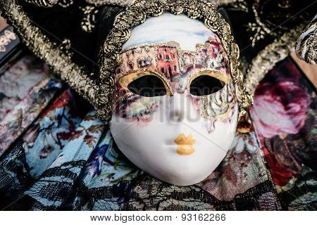 Carnival mask on purple velvet