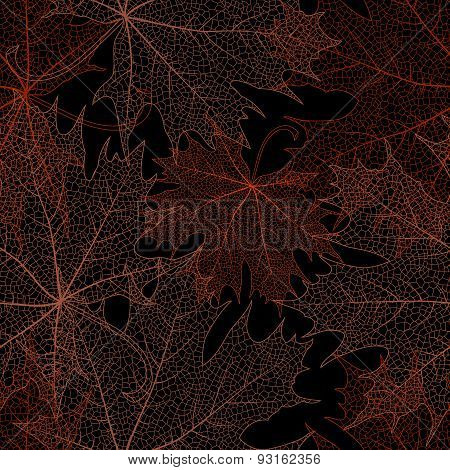 Seamless Orange Leaves Pattern