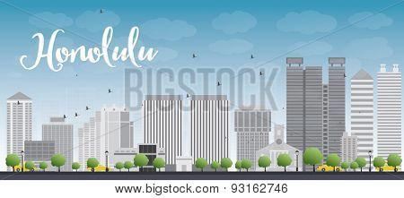 Honolulu Hawaii skyline with grey buildings and blue sky. Vector illustration