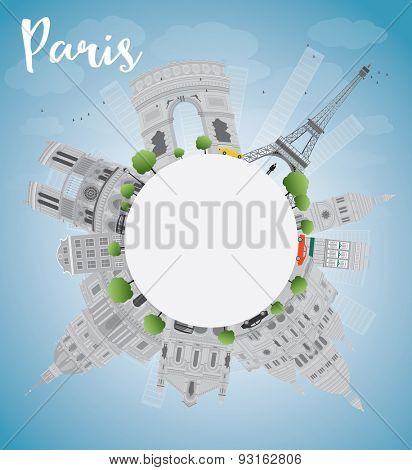 Paris skyline with grey landmarks, blue sky and copy space. Vector illustration