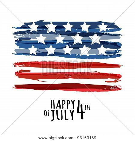 Happy 4Th Of July, Usa Independence Day. Vector Abstract Grunge Background With Place For Text. Wate