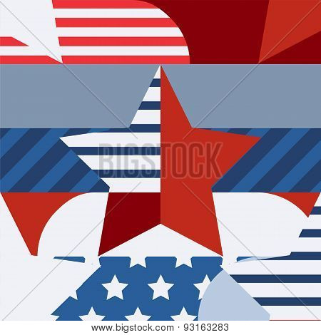 Happy 4Th Of July, Usa Independence Day, Vector Seamless Pattern. Multicolor Star And Flag, Creative