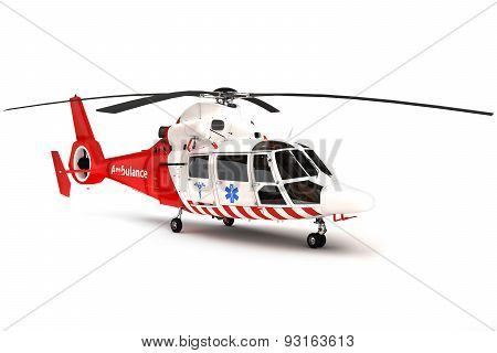 Rescue helicopter on a isolated white background