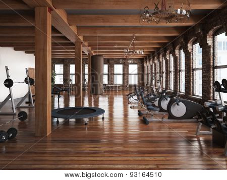 Sports club cross fit gym interior. Photo realistic 3d illustration