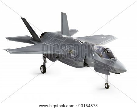 F35 strike aircraft angled on a Isolated white background