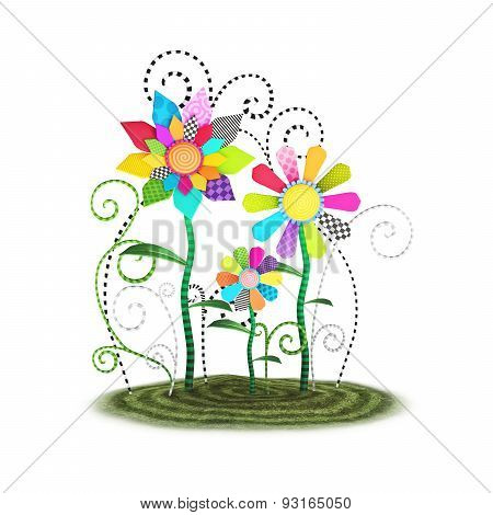 Cute toon whimsical flowers background illustration isolated on a white background.