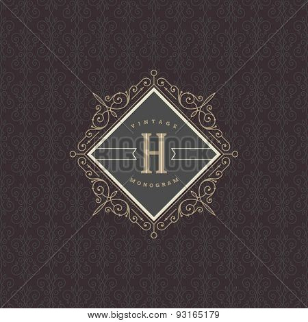 Monogram logo template with flourishes calligraphic elegant ornament elements. Identity design for restaurant, boutique, hotel, store, cafe, shop, heraldic, fashion and etc.