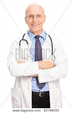 Vertical shot of a mature doctor posing in white coat and with a stethoscope around his neck isolated on white background