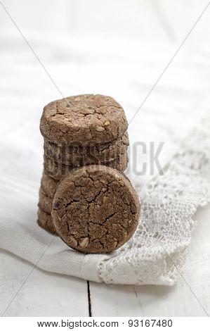 Chocolate Cookies On White  Napkin