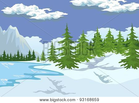 Illustration of the mountain landscape in winter.
