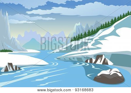 Beautiful winter landscape with mountain and river