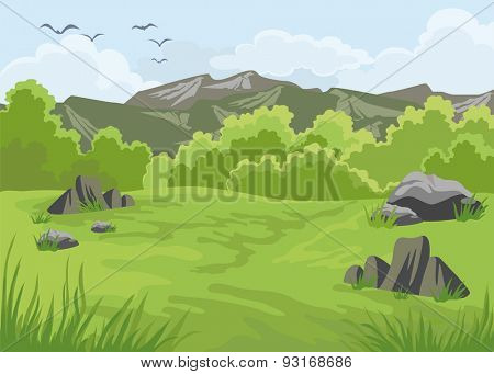 Mountains landscape with trees in the foreground