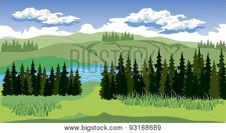 Illustration of beauty landscape with forest and mountain