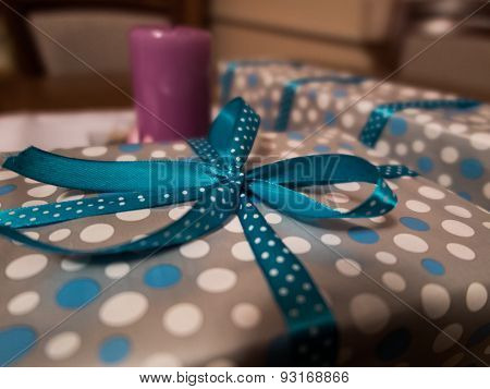 Gifts Wrapped In Decorative Paper And Ribbon