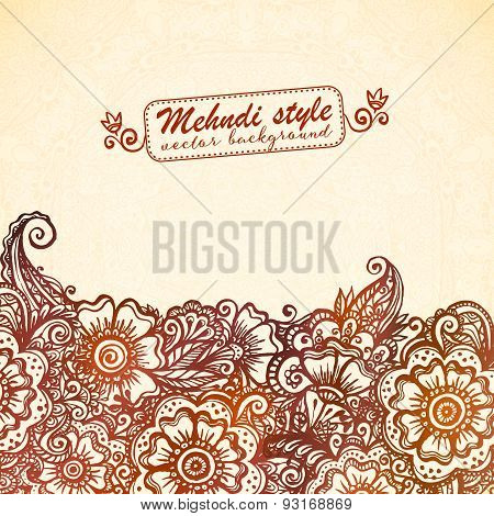 Vintage background in Indian henna mehndi style