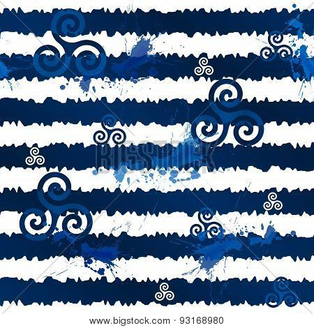 Dark blue grunge stripes with celtic triskels, seamless pattern
