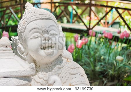 Beautiful White Giant Statue In Public Temple Located At Chiang Mai, Thailand.