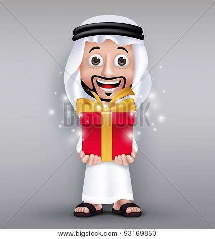 Realistic Saudi Arab Man Wearing Thobe Giving Red Gift