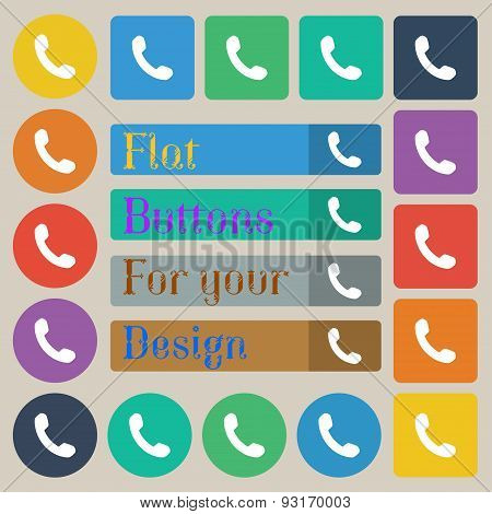 Phone, Support, Call Center  Icon Sign. Set Of Twenty Colored Flat, Round, Square And Rectangular Bu