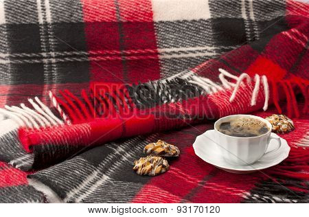 Woolen Blanket ,cup Of Coffee And Cookies