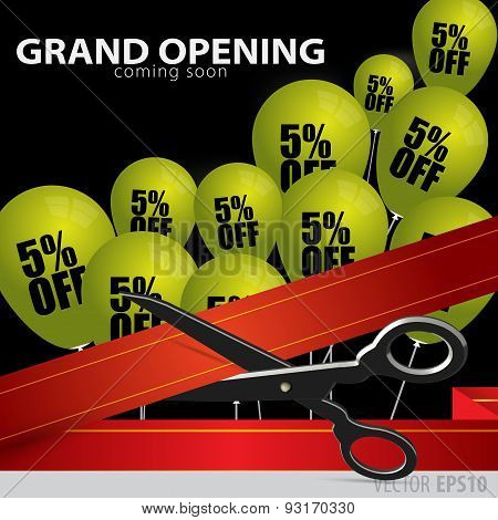 Shop Grand Opening - Cutting Red Ribbon. .balloons With 5  Percent Discount