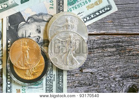 US currency coins and paper bills