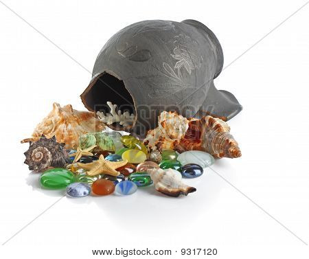 Broken Amphora With Seashells And Stones