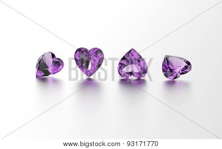 Gemstone on white. Jewelry background. Amethyst