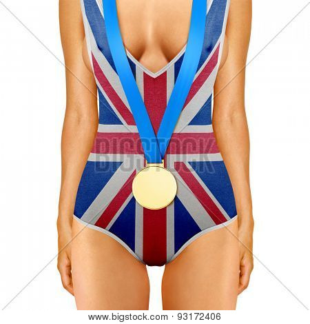 body of woman in swimwear like British flag with medal on white background