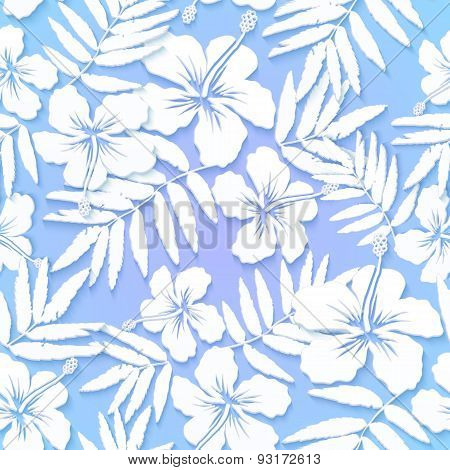 White cutout paper flowers on blue background seamless pattern