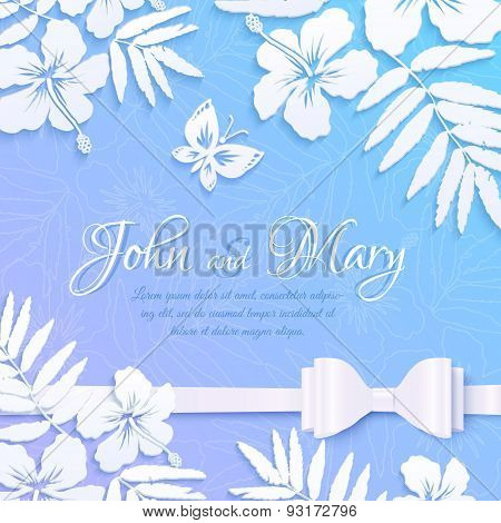 White cutout paper tropical flowers on blue background, wedding card template