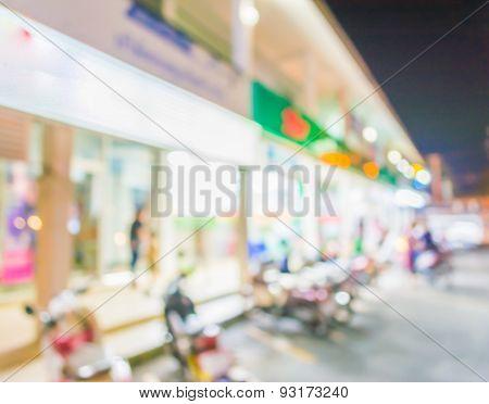 Bokeh Of Supermarket Light At Night.