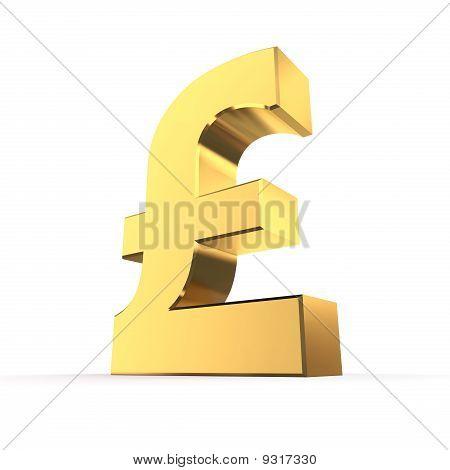 Shiny Pound Symbol - Golden Surface